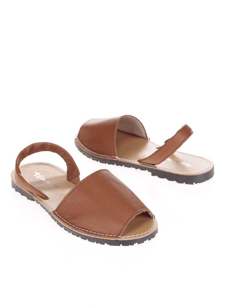 Hnedé kožené sandálky Tamaris