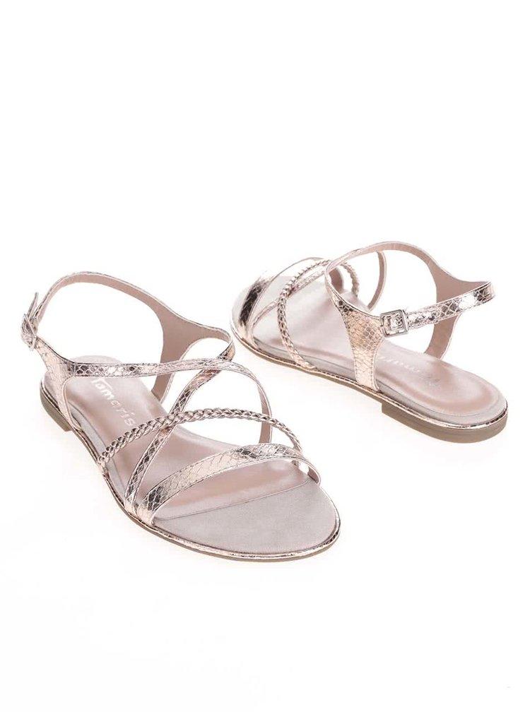 Růžovozlaté sandálky s pásky Tamaris