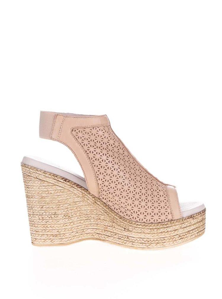 Béžové kožené perforované boty na platformě OJJU