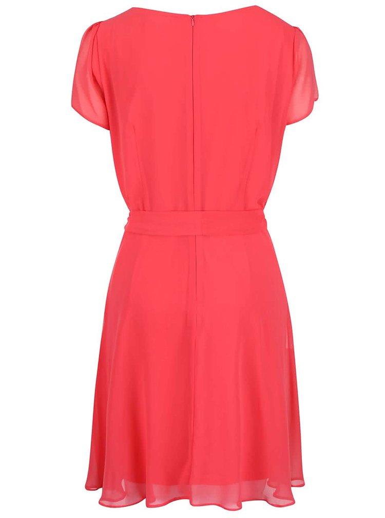 Růžové šaty s krátkými rukávy a páskem Dorothy Perkins Curve