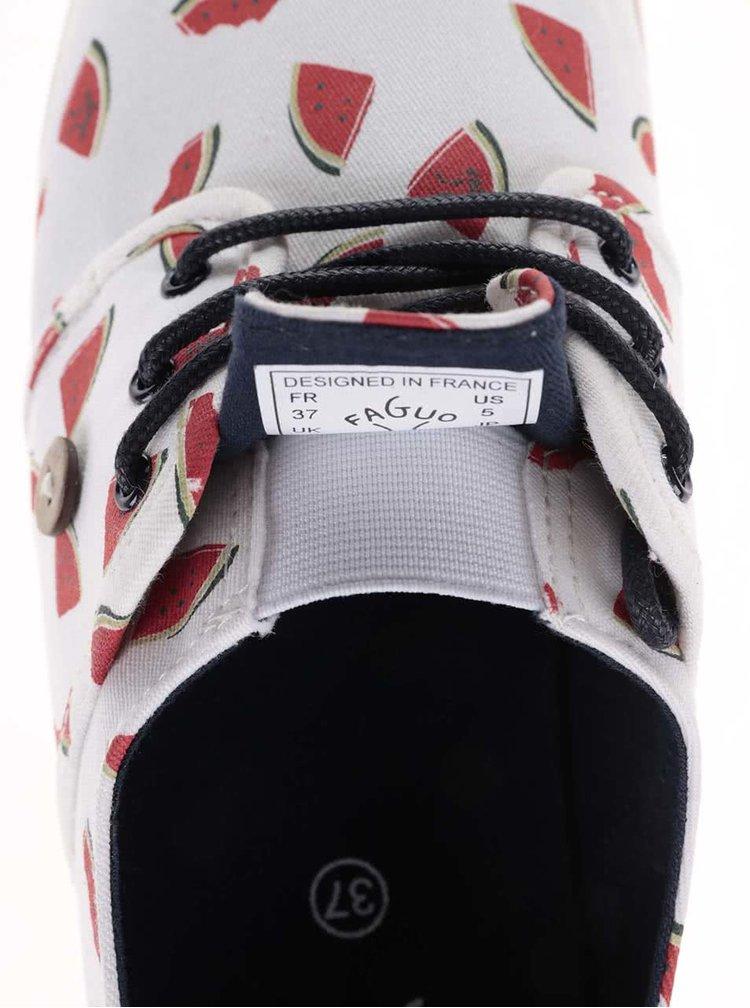 Bílé dámské plátěné tenisky s potiskem melounů Faguo Cypress