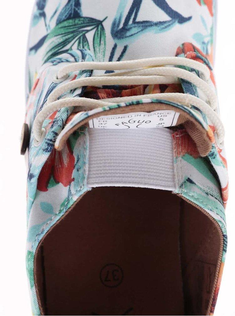 Barevné dámské plátěné tenisky s potiskem květů Faguo Cypress