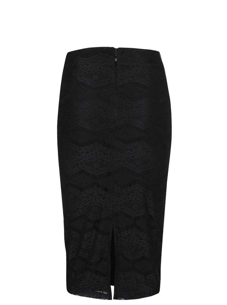 Černá krajková sukně s rozparkem Dorothy Perkins