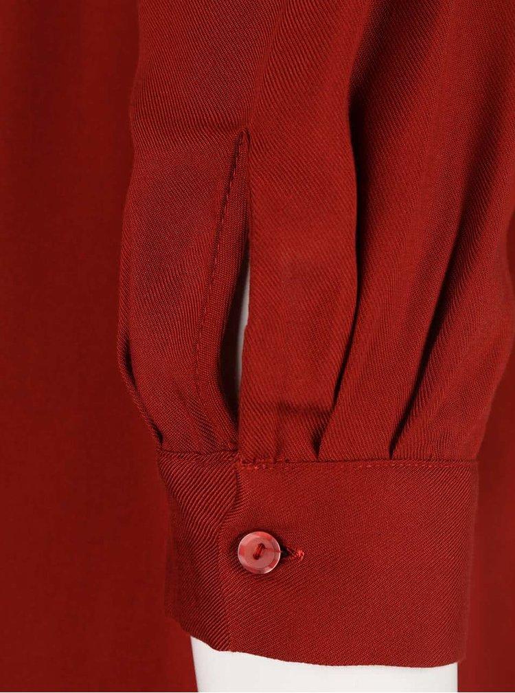 Tehlová off shoulder blúzka s strojštvrťovými rukávmi Dorothy Perkins