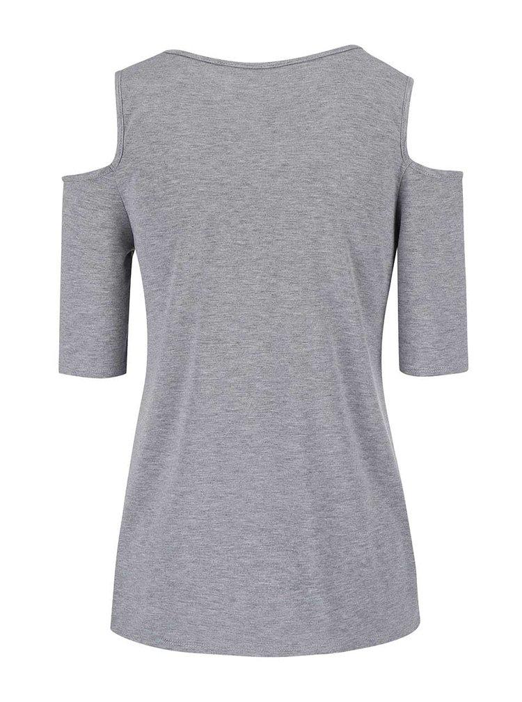 Sivé tričko s prestrihmi na ramenách Dorothy Perkins