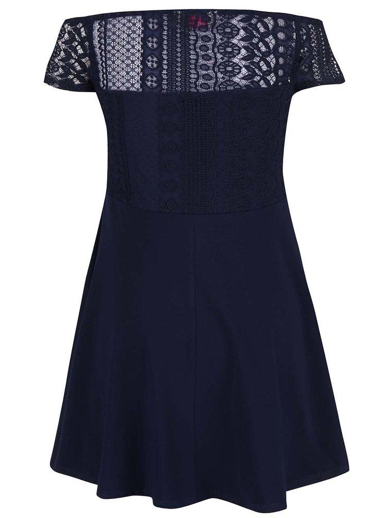 Tmavě modré šaty s krajkovým topem Dorothy Perkins Petite