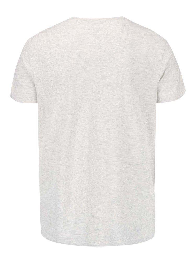 Krémové žíhané triko s potiskem Selected Homme Deep Indigo