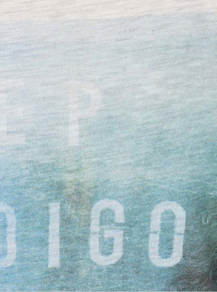 Tricou Selected Homme Deep Indigo gri bărbătesc cu print