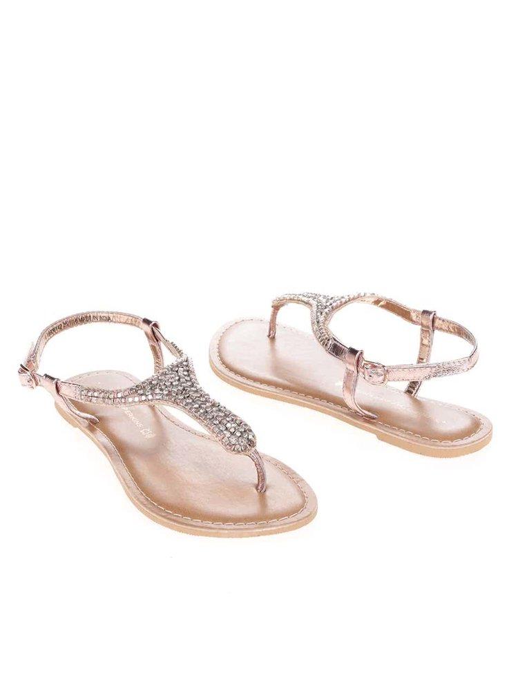 Sandálky v růžovozlaté barvě s kamínky Dorothy Perkins