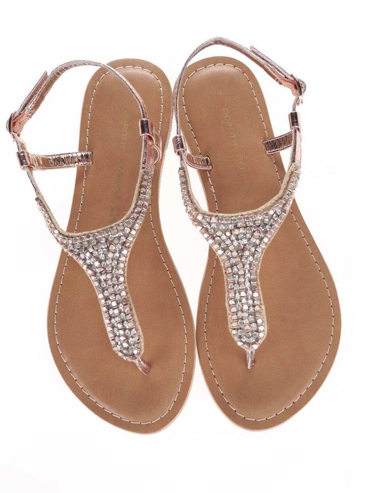 Sandale Dorothy Perkins roz-auriu cu aplicații