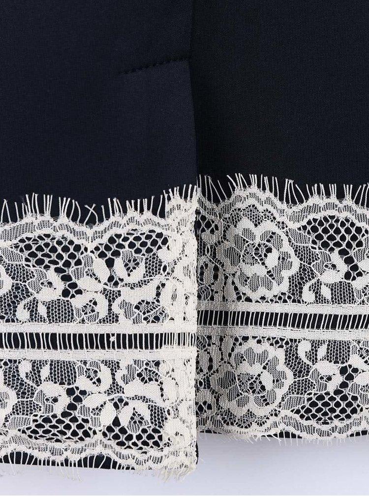 Tmavomodré šaty s bielou čipkou Dorothy Perkins