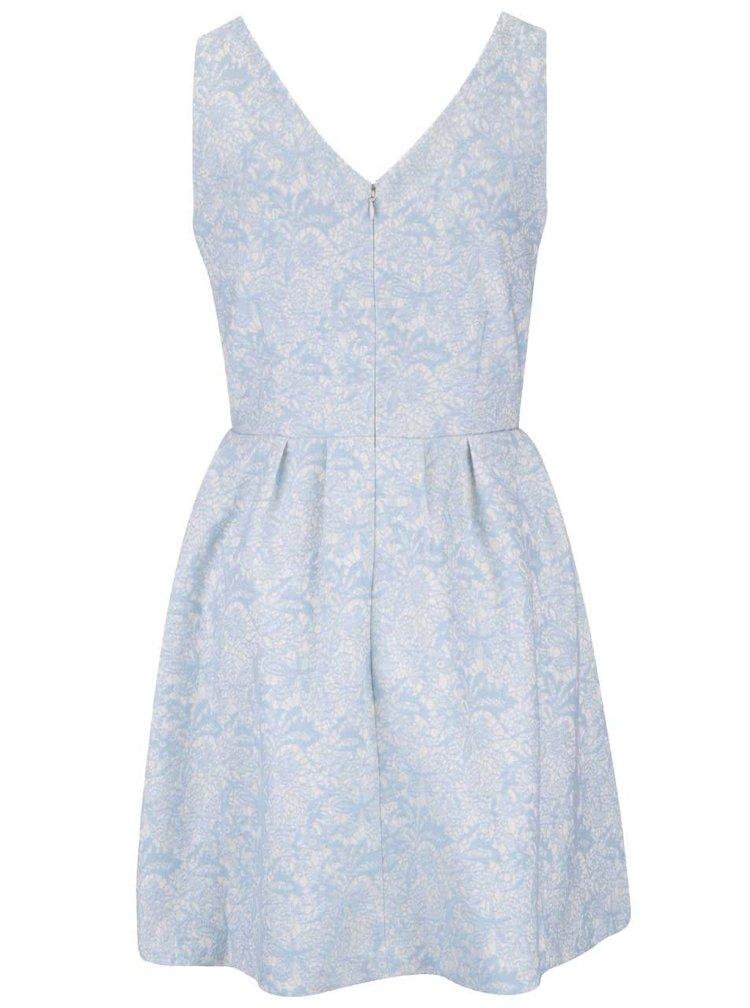 Krémovo-modré vzorované šaty VILA Nessia