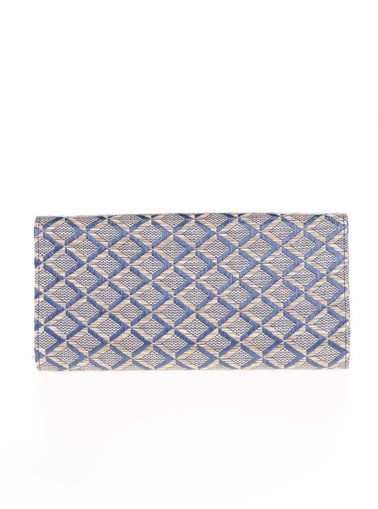 Modré psaníčko/kabelka s béžovými vzory a řetízkem ve zlaté barvě OJJU