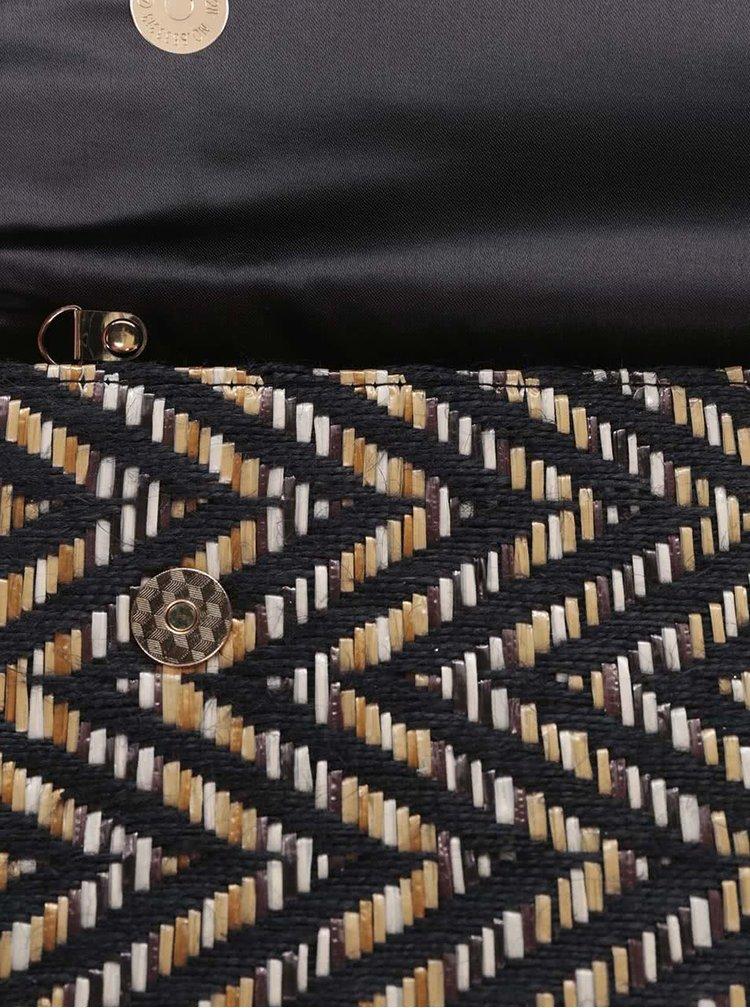 Čierna listová kabelka so vzorovaným prešívaním OJJU