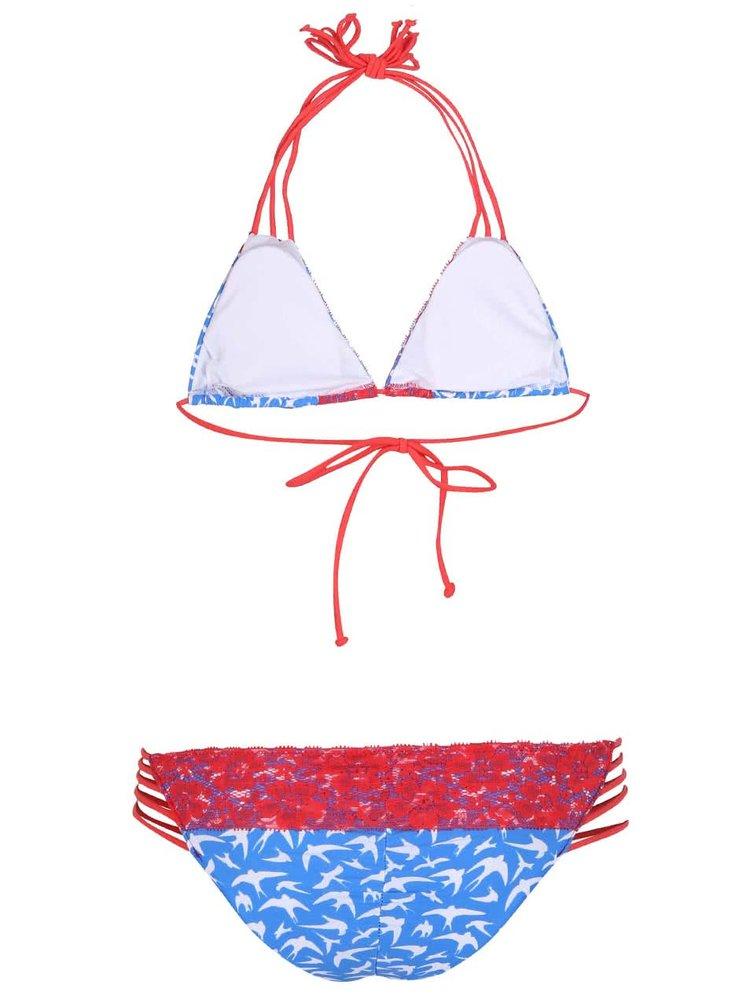 Červeno-modré vzorované dvoudílné plavky Relleciga