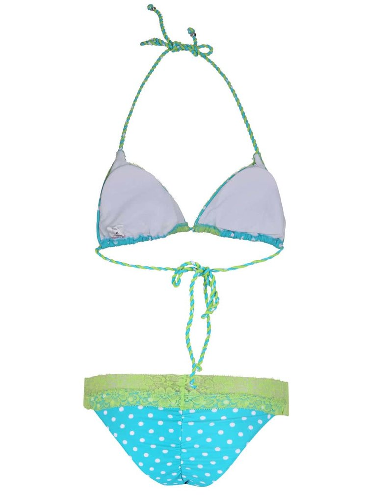 Zeleno-tyrkysové dvojdielne plavky s bodkami Relleciga