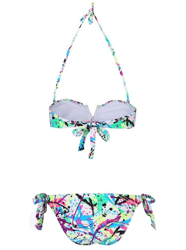 Bílé dvoudílné plavky s barevnými vzory Relleciga