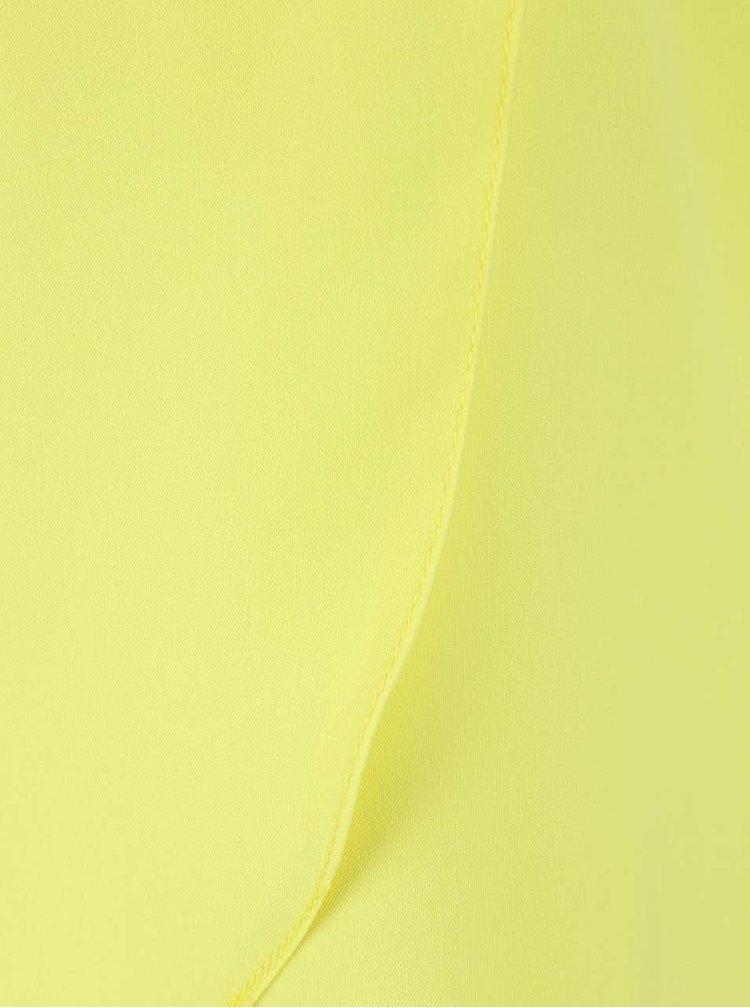 Neónovožltý asymetrický top s trojštvrťovým rukávom Closet