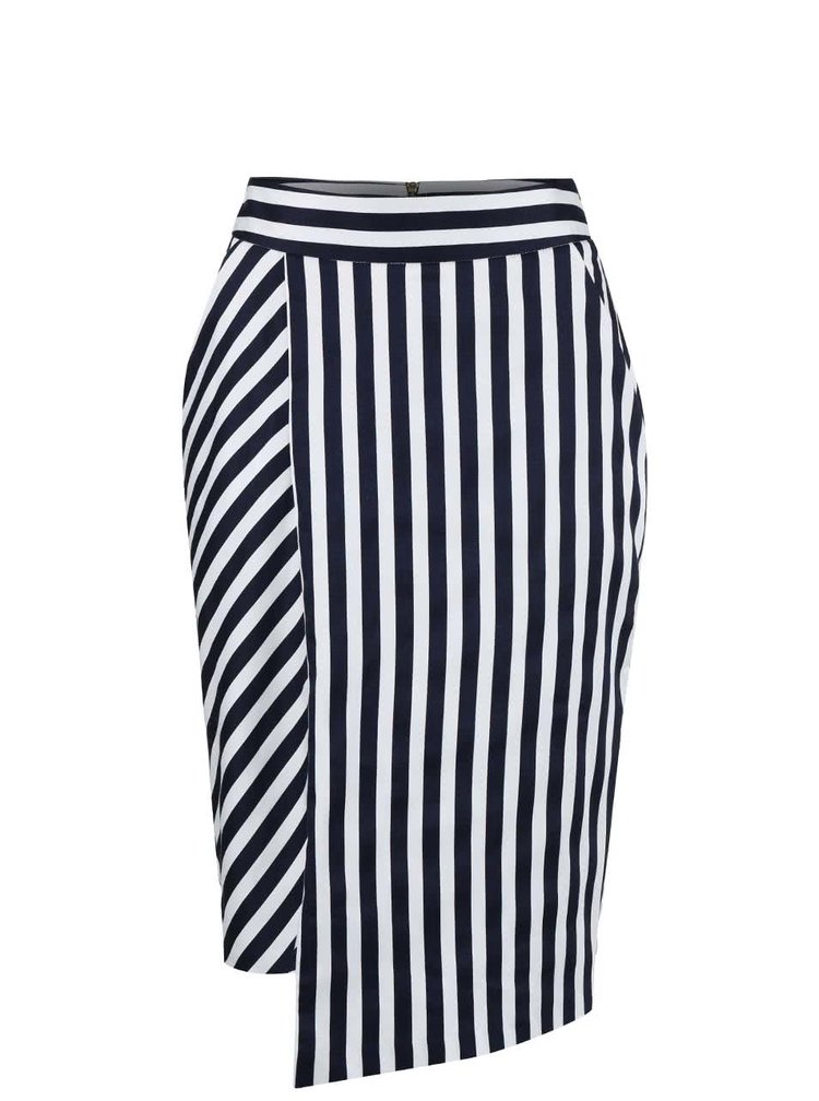 Bielo-modrá pruhovaná sukňa s vreckami Closet