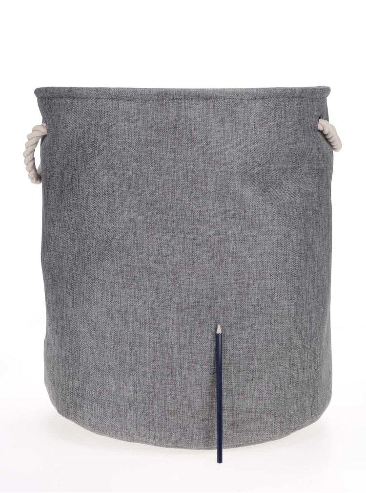 Krémovo-šedý úložný koš s nápisem a se stahovací šňůrkou Dakls