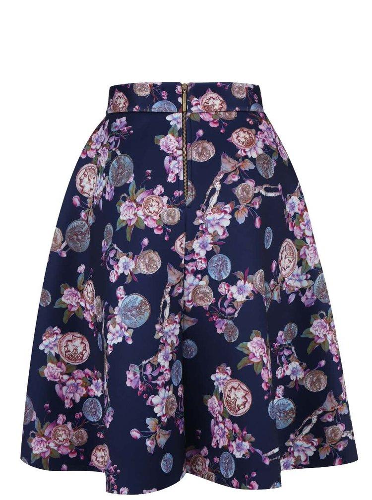 Tmavomodrá sukňa s kvetinovým vzorom Closet