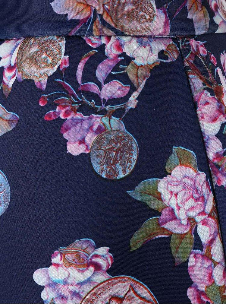Tmavomodrá sukně s květinovým vzorem Closet