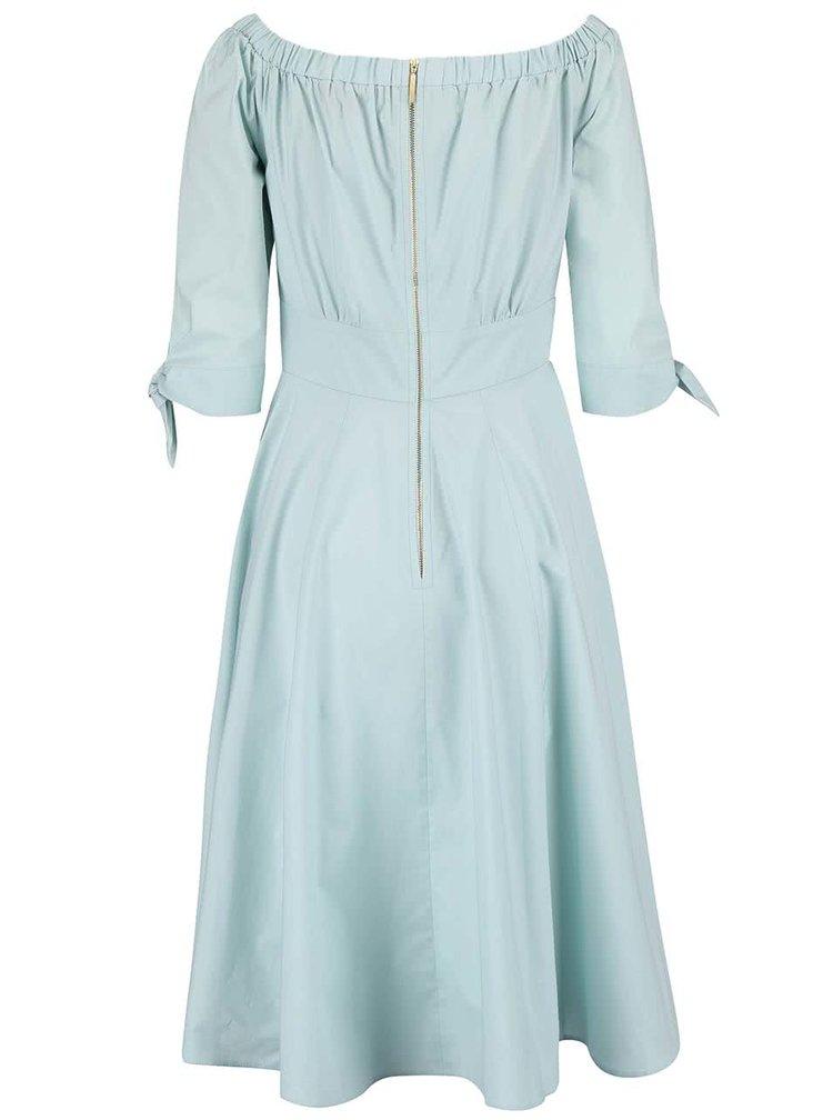 Mentolové šaty s odhalenými rameny Closet