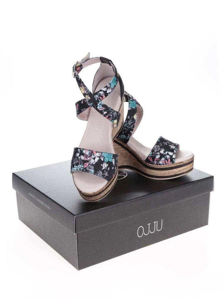 Čierne kožené vzorované sandále na platforme OJJU