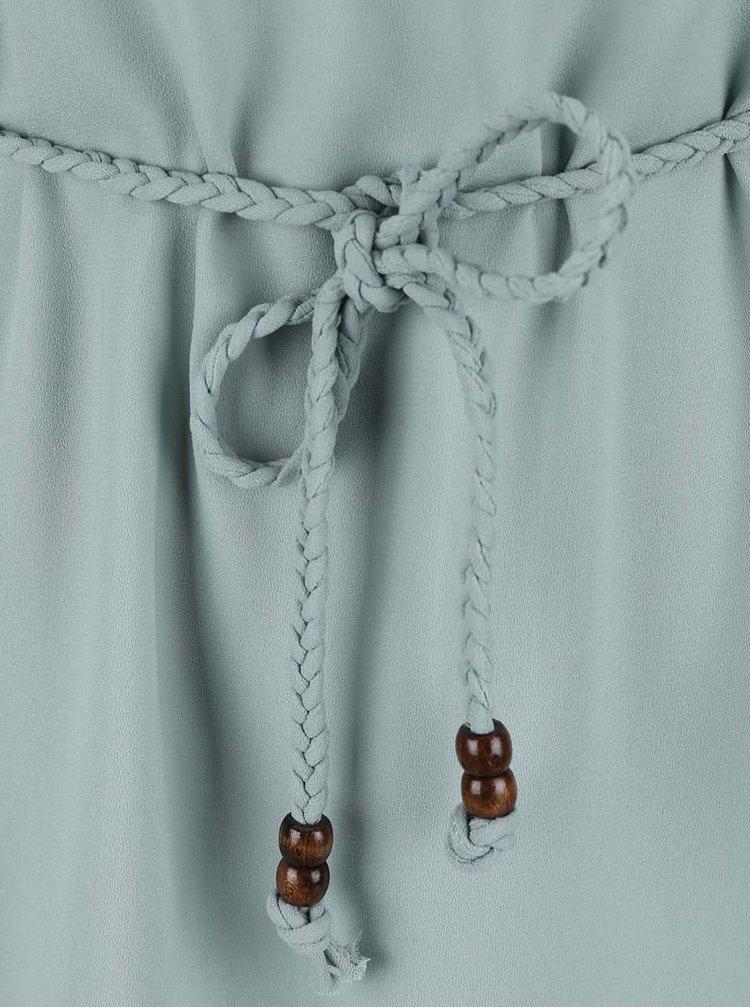 Mentolové šaty s krajkovanými zády a proplétaným páskem ONLY Karen