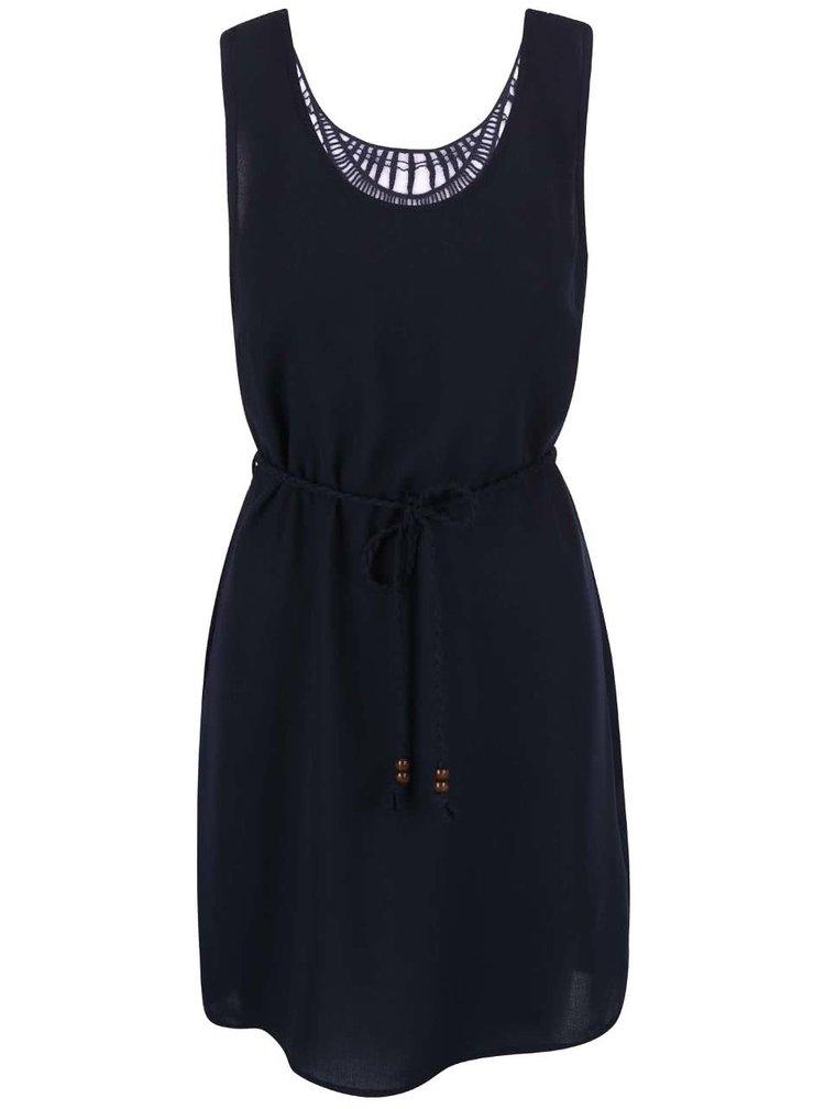 Tmavě modré šaty s krajkovanými zády a proplétaným páskem ONLY Karen