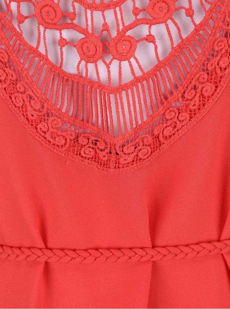 Růžové šaty s krajkovanými zády a proplétaným páskem ONLY Karen