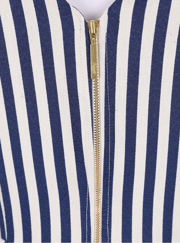 Krémovo-modré pruhované šaty Closet