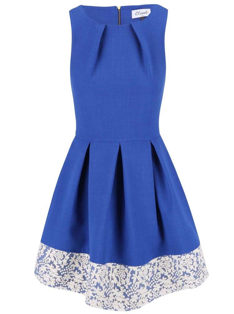 Kobaltově modré šaty olemované krajkou Closet