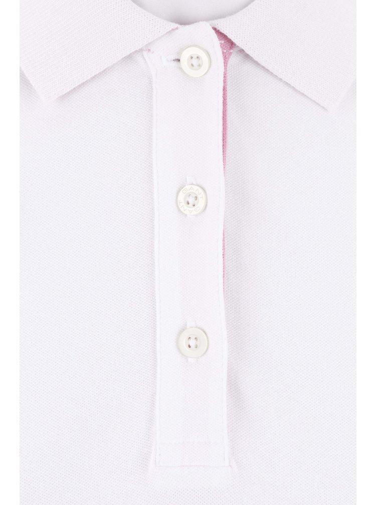 Bílé dámské polo tričko s růžovými lemy GANT