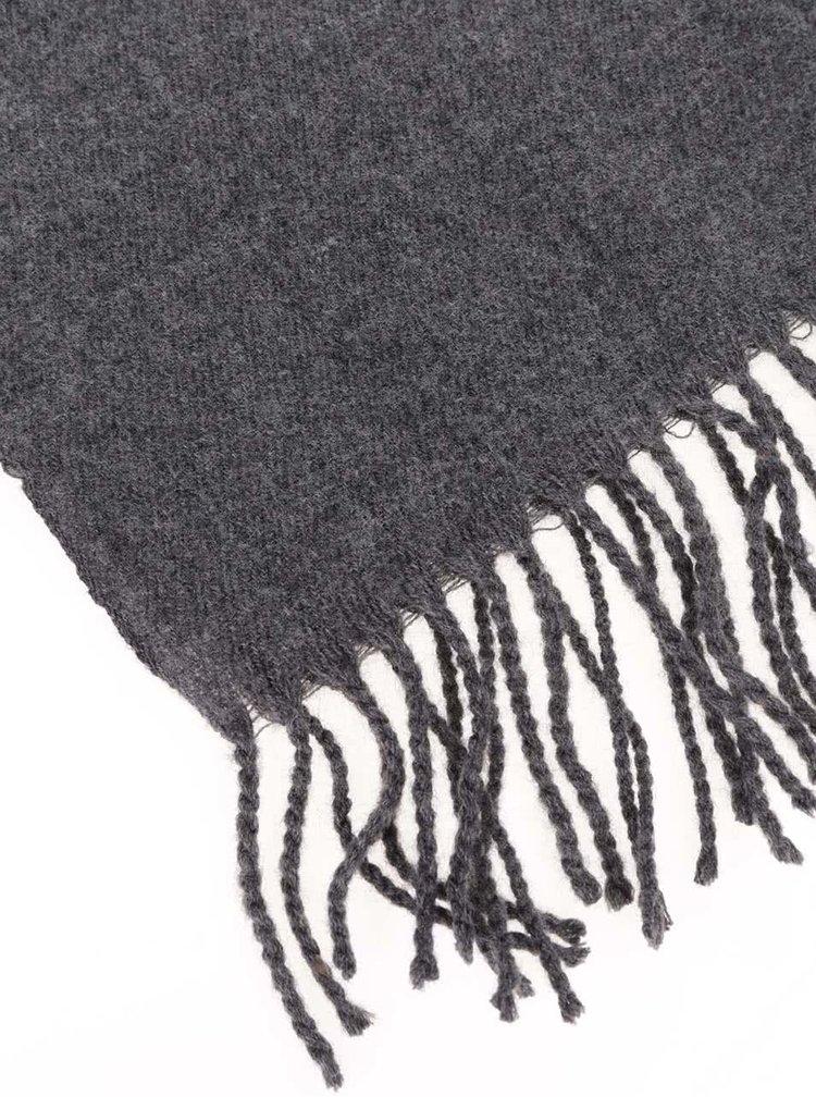 Fular gri inchis tricotat cu franjuri Pieces Eira