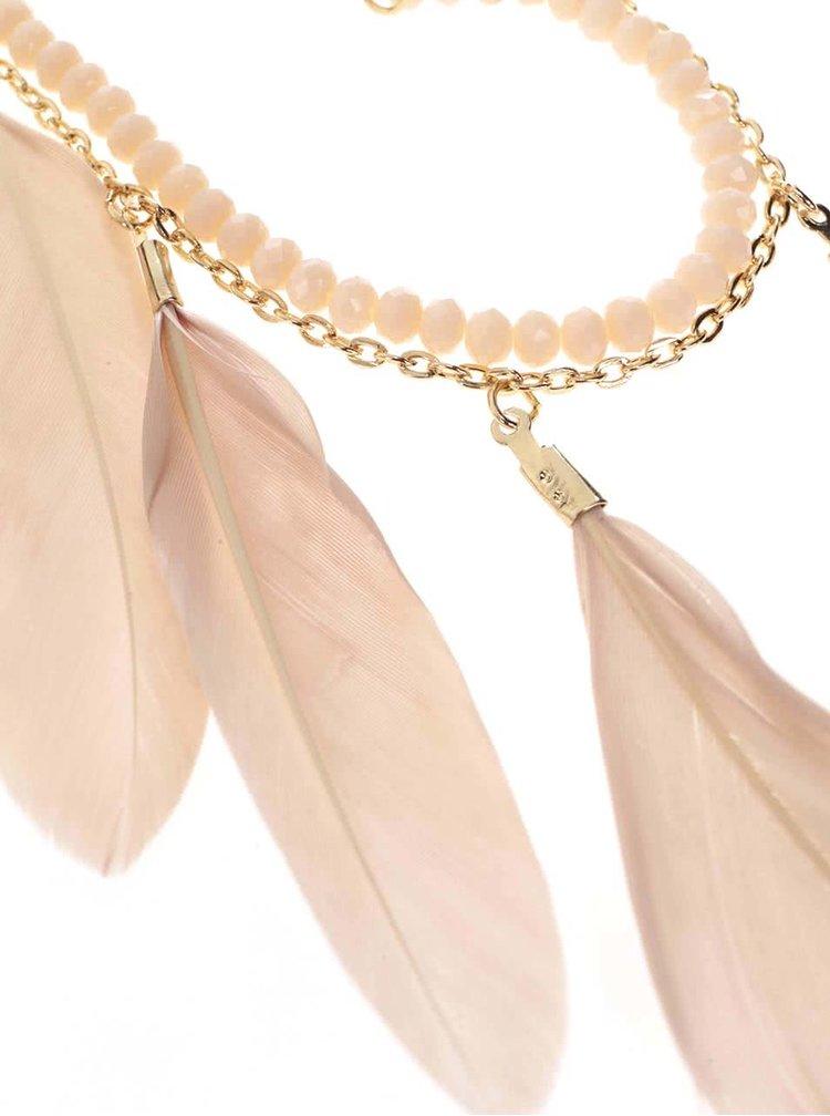 Náhrdelník v zlatej farbe s ružovými pierkami Pieces Bayo