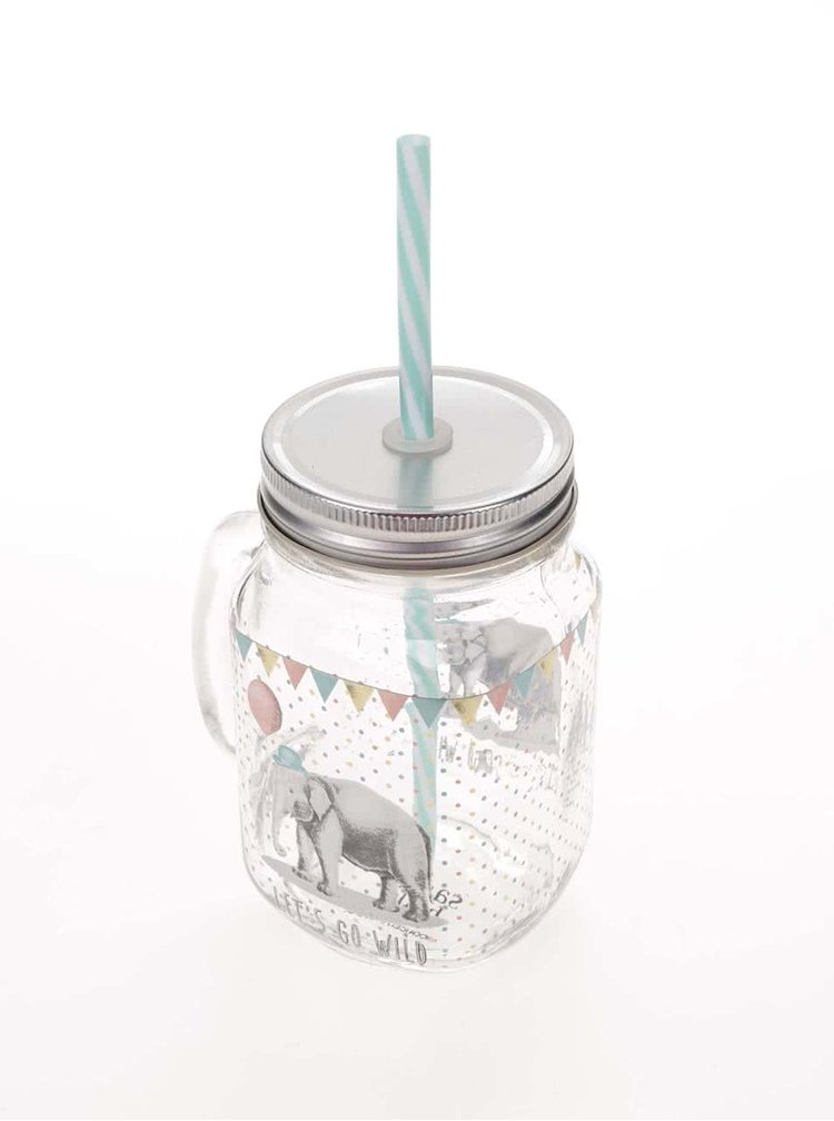 Cana din sticla cu pai si print elefant- Sass & Belle Party Animals