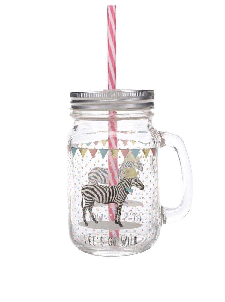 Průhledný hrnek s brčkem a víčkem s motivem zebry Sass & Belle Party Animals