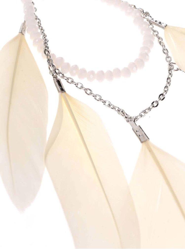 Náhrdelník ve stříbrné barvě s krémovými pírky Pieces Bayo