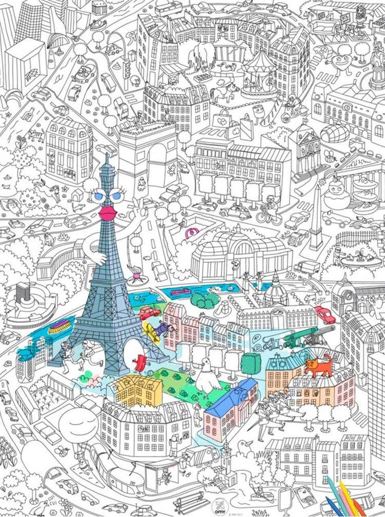 Poster de colorat Paris OMY
