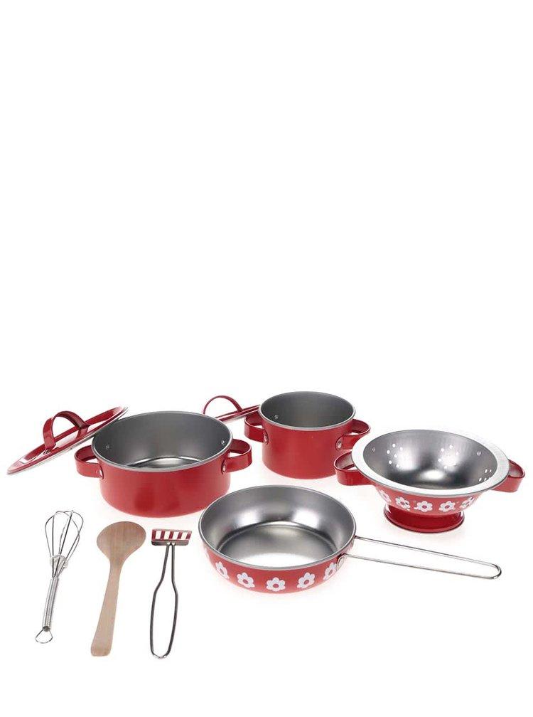 Červený set dětského kuchyňského nádobí v kufříku Sass & Belle