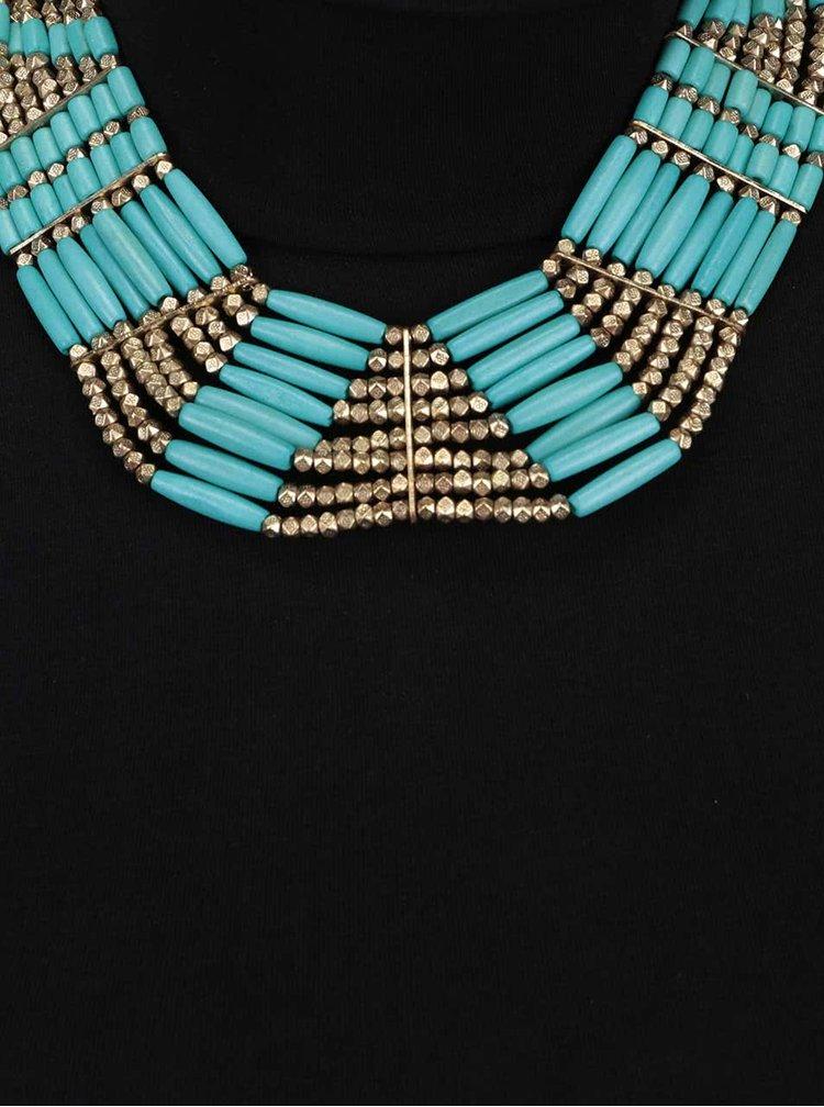 Kaskádovitý náhrdelník v zlatej farbe s tyrkysovými korálikmi Pieces Billie