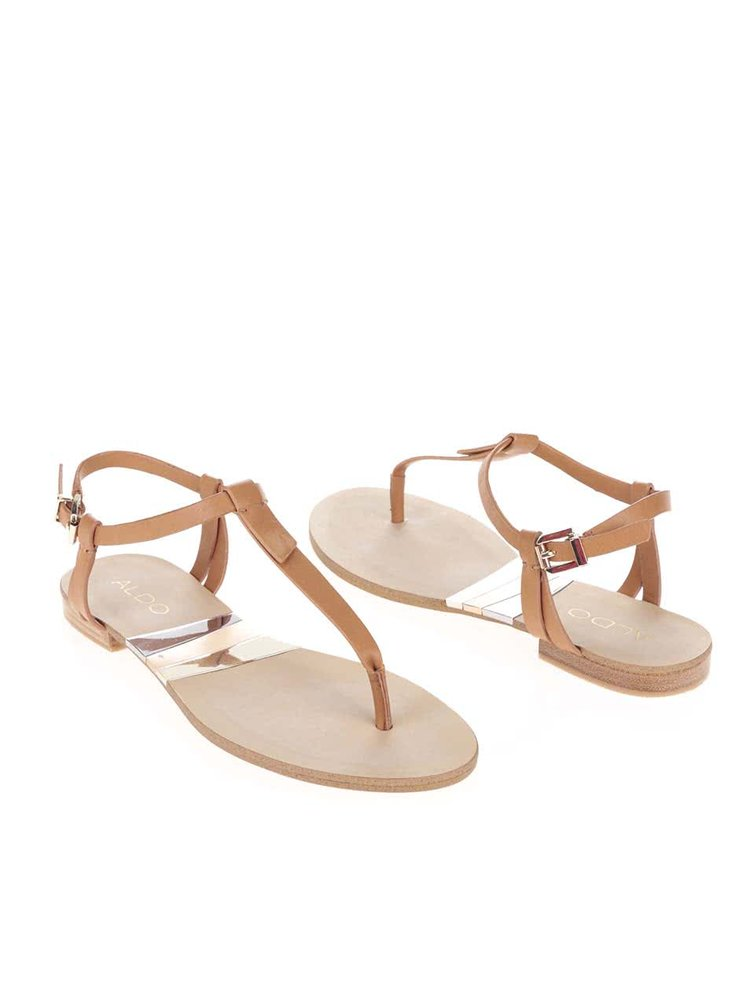 Hnědé páskové sandály s detaily ve zlaté barvě ALDO Susie