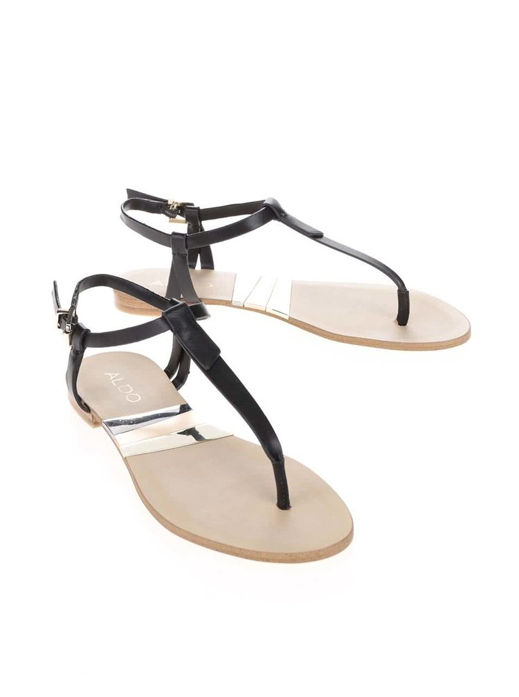 Černé páskové sandály s detaily ve zlaté barvě ALDO Susie