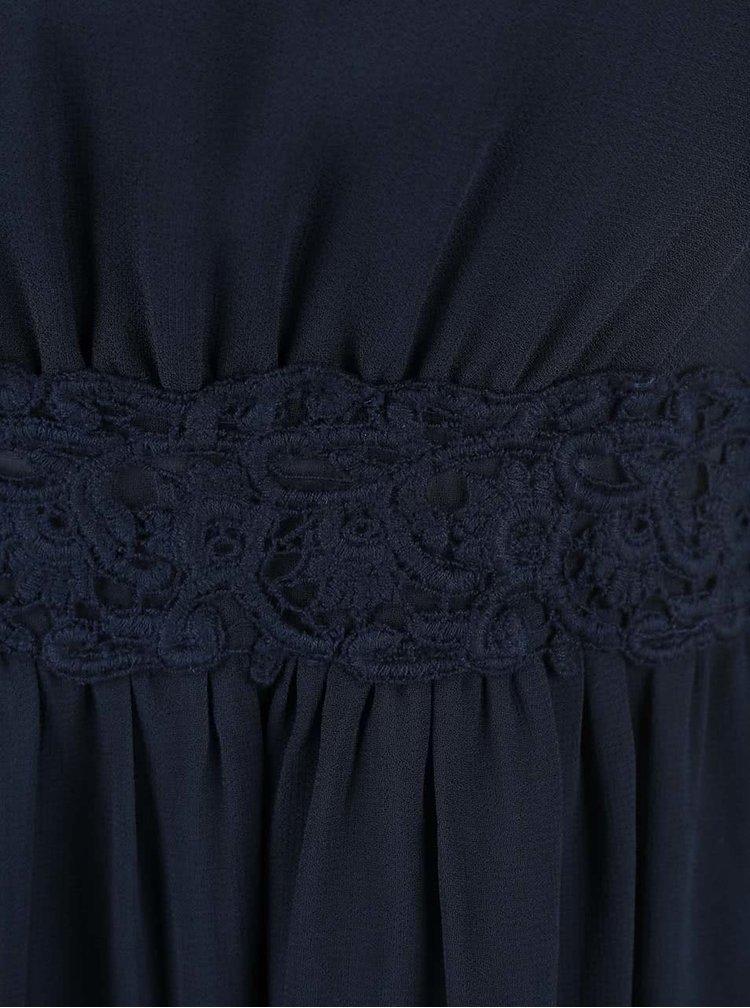 Tmavě modré maxišaty s krajkovanými detaily VILA Calas