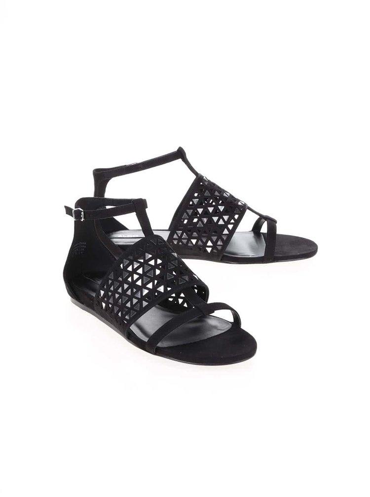 Čierne sandále so zdobením v striebornej farbe ALDO Liliane