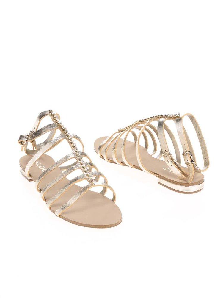 Remienkové kožené sandále v zlatej farbe s kamienkami ALDO Fishwick