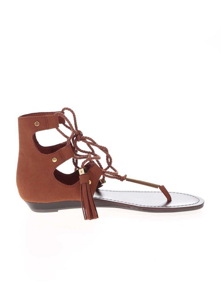 Hnedé sandále so šnurovaním a zdobením v zlatej farbe ALDO Jakki