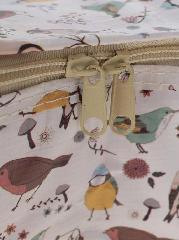 Žluto-bílá termotaška na jídlo s potiskem ptáčků Sass & Belle British birds