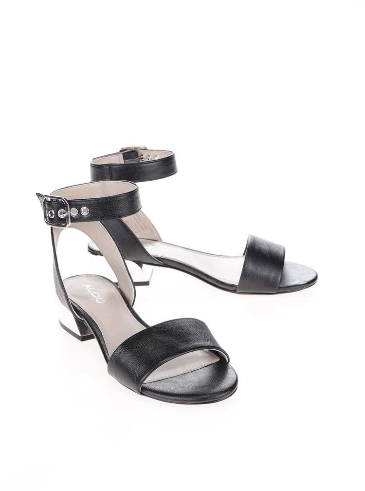Černé sandály na podpatku s detaily ve stříbrné barvě ALDO Riana